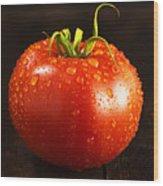 Single Fresh Tomato With Dew Drops Wood Print