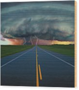 Single Lane Road Leading To Storm Cloud Wood Print