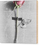 Single Rose Stem Taped On White Background  Wood Print