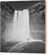 Single Tourist At Skogafoss Waterfall In Iceland Wood Print