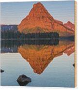 Sinopah Mountain Reflected In Two Medicine Lake At Sunrise Wood Print
