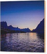 Sinset Over Lofoten Islands Wood Print
