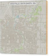 Sioux Falls South Dakota Us City Street Map Wood Print