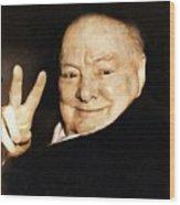 Sir Winston Churchill Victory Wood Print