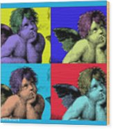 Sisteen Chapel Blue Cherub Angels After Michelangelo After Warhol Robert R Splashy Art Pop Art Print Wood Print