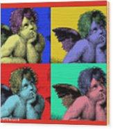 Sisteen Chapel Cherub Angels After Michelangelo After Warhol Robert R Splashy Art Pop Art Prints Wood Print
