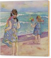 Sisters By The Sea Wood Print