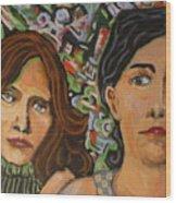 Sisters In Art Wood Print