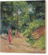 Sisters In Nepal Wood Print