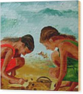 Sisters On The Beach Wood Print