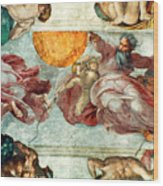 Sistine Chapel Ceiling Creation Of The Sun And Moon Wood Print