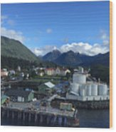 Sitka From The Waterfront Showing The Three Sisters In The Back 2015 Wood Print