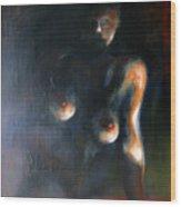 Sitted Female Nude Wood Print