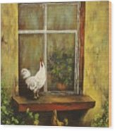 Sittin Chickens Wood Print