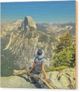 sitting at Glacier Point Wood Print