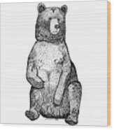Sitting Bear Wood Print