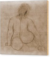 Sitting Fat Nude Woman Wood Print