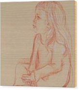 Sitting Girl Wood Print