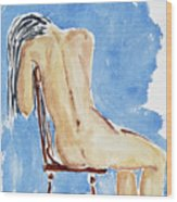 Sitting Girl Wood Print