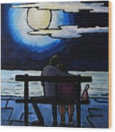 Sitting In The Moonlight. Wood Print