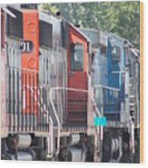 Sitting In The Switching Yard Wood Print