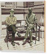Sitting Next To A Statue Of Jan Karski Legendary Polish Underground Courier    Wood Print
