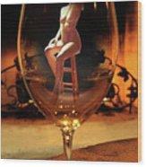 Sitting Nude In Glass Wood Print