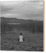 Sitting Nude-nevada Wood Print