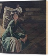 Sitting On The Dock Wood Print