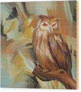 Sitting Owl Wood Print