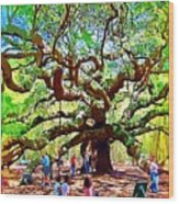 Sitting Under The Live Oaks Wood Print