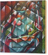 Sitting Woman Fixed In Motion Wood Print