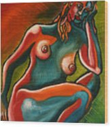 Sitting Woman In Fixed Motion Wood Print