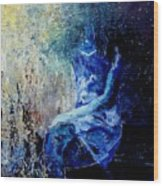 Sitting Young Girl Wood Print by Pol Ledent