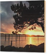 Siuslaw River Autumn Sunset Wood Print