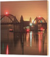 Siuslaw River Bridge At Night Wood Print