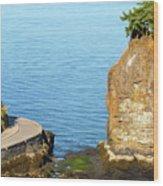 Siwash Rock By Stanley Park Seawall Wood Print