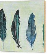 Six Feathers Wood Print