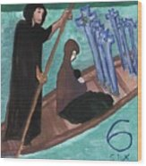 Six Of Swords Illustrated Wood Print