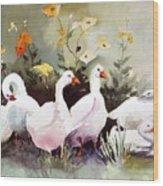 Six Quackers Wood Print