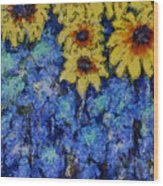 Six Sunflowers On Blue Wood Print