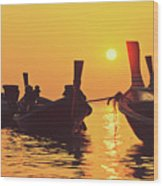 Six Thai Wooden Boats Floating And Glittering In The Lagoon During Golden Sunset Koh  Wood Print