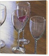Six Wine Glasses Wood Print