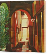 S.j. Capistrano Mission Wood Print by Milagros Palmieri