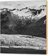 Skaftafell Glacier And End Lagoon With Icebergs Vatnajokull National Park In Iceland Wood Print