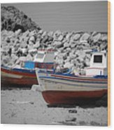 Skala Eressos Harbour Boats Wood Print