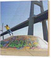 Skate Under Bridge Wood Print