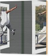 Skateboarder - Gently Cross Your Eyes And Focus On The Middle Image Wood Print