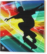 Skateboarder In Criss Cross Lightning Wood Print