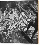 Skateboarder On Graffitti Wood Print